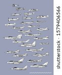 History of British fighters. Outline vector drawing. Image for illustration or infographics.