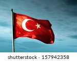 Turkey Flag Waving In The...