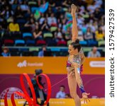 Small photo of BAKU, AZERBAIJAN -16-22 SEPTEMBER, 2019: 37th FIG Rhythmic Gymnastics World Championships, All Around Finals, RGI, Nicol Zelikman (Israel) Ribbon Final