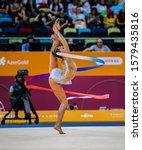 Small photo of BAKU, AZERBAIJAN -16-22 SEPTEMBER, 2019: 37th FIG Rhythmic Gymnastics World Championships, All Around Finals, RGI, Arina Averina (Russia) Ribbon Final