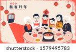 silkscreen style family reunion ... | Shutterstock .eps vector #1579495783