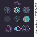 set of holographic circles with ... | Shutterstock .eps vector #1579566673