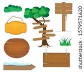 wooden signs  wood elements ... | Shutterstock .eps vector #1579571620