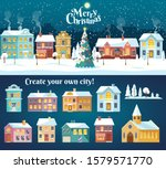 snowy night in cozy christmas... | Shutterstock .eps vector #1579571770