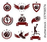 basketball labels and icons set.... | Shutterstock .eps vector #157958576