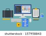 flat design vector illustration ... | Shutterstock .eps vector #157958843