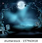 a spooky scary halloween... | Shutterstock .eps vector #157963418