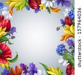 bright colorful summer floral... | Shutterstock . vector #157964036