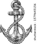 an anchor from a boat or ship... | Shutterstock .eps vector #1579645156