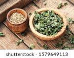 Bowl Of Dried Oregano Leaves O...