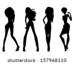 set of four black silhouettes... | Shutterstock .eps vector #157968110