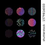 set of holographic circles with ... | Shutterstock .eps vector #1579816033