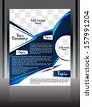 blue wave flyer design vector... | Shutterstock .eps vector #157991204