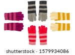 Small photo of Knitted wool gloves set isolated on white background. Colorful khitted wool gloves. Knitted wool gloves multicolored. Color knitted wool gloves on white