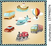 air transport,aircraft,airline,balloon,bus,car,cargo ships,cloud,colorful,facility,fly,frame,hot air balloon,icon,illustration