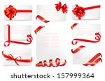 set of gift card notes with red ... | Shutterstock .eps vector #157999364