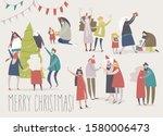 happy cartoon people celebrate...   Shutterstock .eps vector #1580006473