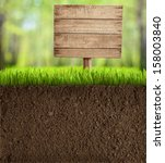 soil cut in garden with wooden... | Shutterstock . vector #158003840
