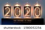 vintage nixie tube 2020... | Shutterstock .eps vector #1580052256