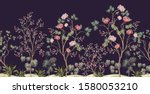 beautiful exotic chinoiserie... | Shutterstock .eps vector #1580053210