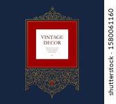 vector gold lineart frame ... | Shutterstock .eps vector #1580061160