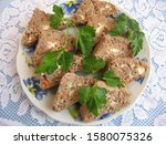 Small photo of Delicious oven baked liver paste in the plate, Delicious oven baked liver paste, Food and Drink, Festival concept, Yummy food.