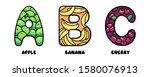 juicy fruit letters a b c of... | Shutterstock .eps vector #1580076913