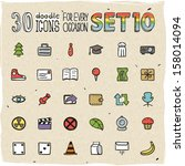 30 colorful doodle icons set 10 | Shutterstock .eps vector #158014094