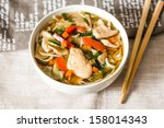 bowls of asian soup noodles and ... | Shutterstock . vector #158014343