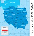 vector map of poland with... | Shutterstock .eps vector #1580156263