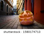 Halloween pumpkin on old town...