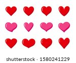 set of red and pink heart... | Shutterstock .eps vector #1580241229