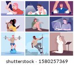human addictions flat vector... | Shutterstock .eps vector #1580257369