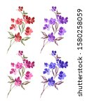 set of watercolor illustrations ...   Shutterstock . vector #1580258059