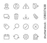 stroked interface icon set. | Shutterstock .eps vector #158037638