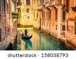 Gondola On Canal In Venice ...