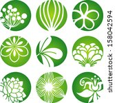 floral icons | Shutterstock .eps vector #158042594