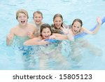 five young friends in swimming... | Shutterstock . vector #15805123