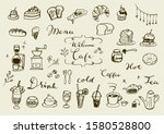 hand drawn cute cafe...   Shutterstock .eps vector #1580528800