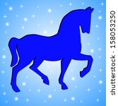 silhouette of horse on a blue... | Shutterstock . vector #158053250