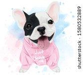 Cute French Bulldog Watercolor...
