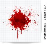 big red splash on squared paper.... | Shutterstock .eps vector #158054114