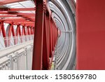 Red Iron Beams Fastening The...