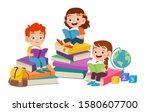 happy cute kids boy and girl... | Shutterstock .eps vector #1580607700
