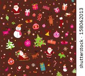 vintage christmas set of xmas... | Shutterstock .eps vector #158062013