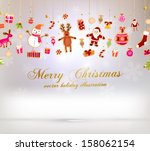 christmas set of icons and... | Shutterstock .eps vector #158062154