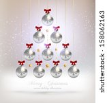 christmas tree made of baubles  ... | Shutterstock .eps vector #158062163