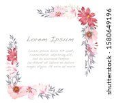 vector watercolor floral frame...   Shutterstock .eps vector #1580649196