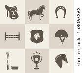 vectir horse icons set