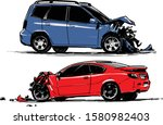 Wrecked Cars. Road Accident....
